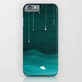 Falling stars, sailboat, teal, ocean iPhone Case