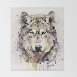 Wolf Head Watercolor Portrait Throw Blanket