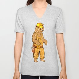 Construction Worker Grizzly Bear Unisex V-Neck