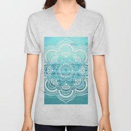 Mandala : Aqua Sunset Waters Unisex V-Neck