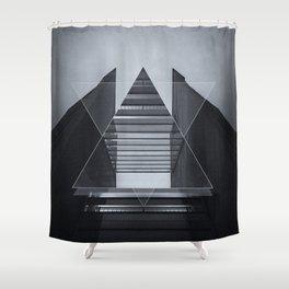 The Hotel (experimental futuristic architecture photo art in modern black & white) Shower Curtain