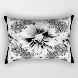 Black & White Geometric Floral Rectangular Pillow