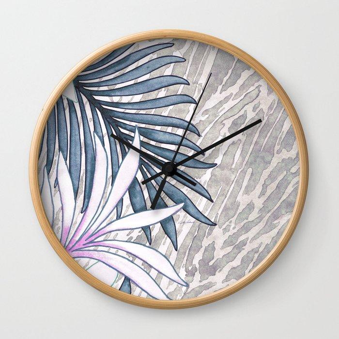 Denim Blooms Forever Wall Clock