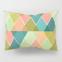 Overlapped Triangles - Blues, Greens, Pinks Pillow Sham