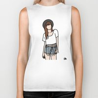 coachella Biker Tanks featuring Fringe Benefits Coachella Festival Girl by Highly Anticipated