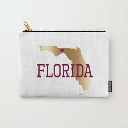 Florida Gold and Garnet with State Capital Typography Carry-All Pouch