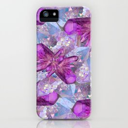 PURPLE AMETHYST & QUARTZ CRYSTALS FEBRUARY GEMS iPhone Case