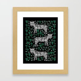 Zebras - linocut safari minimal nature zebra animals art print Framed Art Print