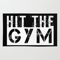 gym Area & Throw Rugs featuring Hit The Gym by LB_M