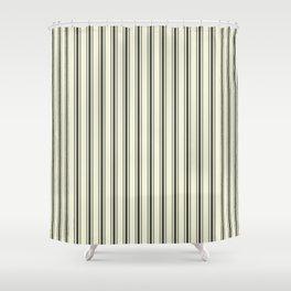 Mattress Ticking Wide Striped Pattern in Dark Black and Beige Shower Curtain