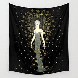 "Art Deco Sepia Illustration ""Star Studded Glamor"" Wall Tapestry"