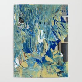 Blue Wave Waterfall Poster