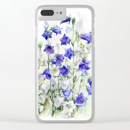 Bluebells watercolor flowers, aquarelle bellflowers Clear iPhone Case