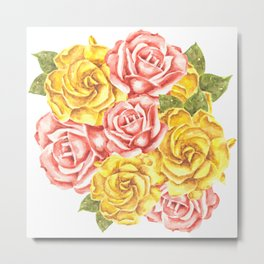 Pretty Watercolor Flowers Metal Print