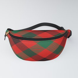 Red Plaid with Diagonal Green and Black Stripes Fanny Pack