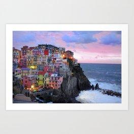 Cinque Terre Sunset, Manarola Italy, Italian Village so0001 Art Print