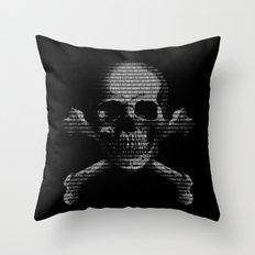 Hacker Skull and Crossbones Throw Pillow