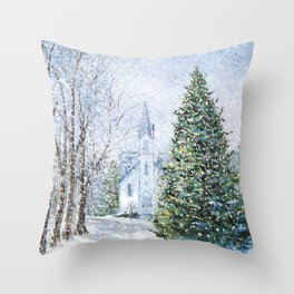 Christmas in Harbor Springs Throw Pillow