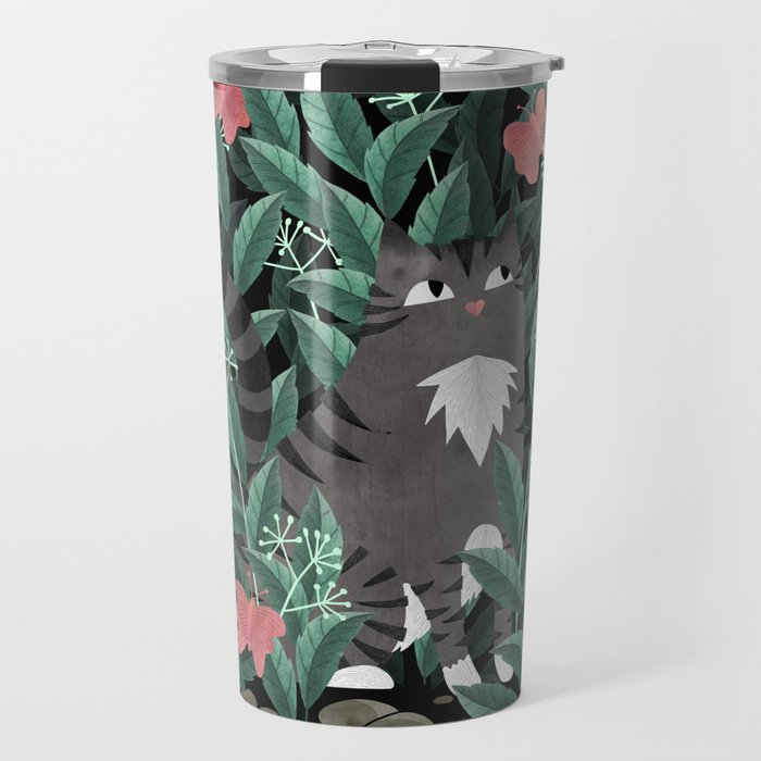 Butterfly Garden (Tabby Cat Version) Travel Mug