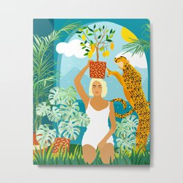 Bring The Jungle Home Illustration, Tropical Cheetah Wild Cat & Woman Painting Metal Print