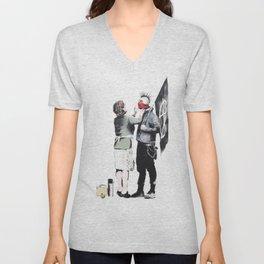 Banksy, Punk with mother Unisex V-Neck