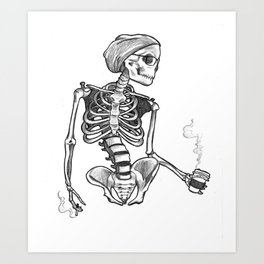 Hipster Skelly Art Print