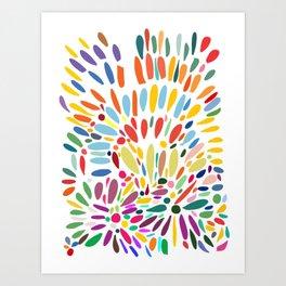 Summer Abstract Flowers in Bloom Pattern Art Design  Art Print