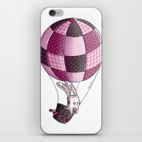 baloon iPhone & iPod Skins featuring Rabbit on pink baloon by My moony mom