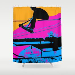 Tail Grabbing High Flying Scooter Shower Curtain