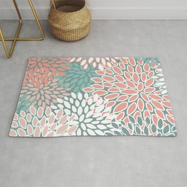 Floral Prints, Teal and Coral, Abstract Art Rug