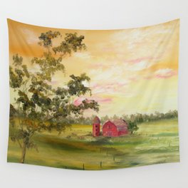Red Barn, Farm Painting, by Faye Wall Tapestry