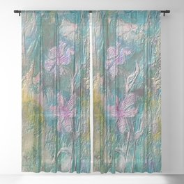 Embossed Impressionist Pink flowers with green background Sheer Curtain