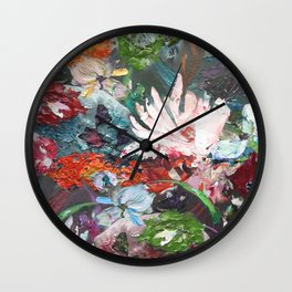 Flower piece petrol red | by Martine de Ruiter Wall Clock