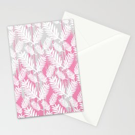 Fuchsia modern watercolor brushstrokes white floral Stationery Cards