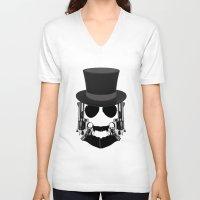top gun V-neck T-shirts featuring Gun Face by BuySkullCat