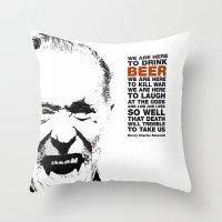 bukowski Throw Pillows featuring beer&bukowski by radiozimbra