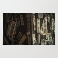 stickers Area & Throw Rugs featuring Kyoto Name Stickers 2 by Jason Halayko
