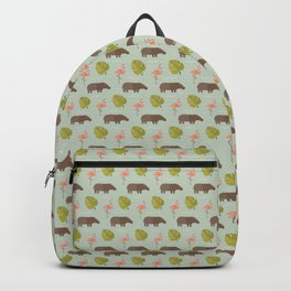 Hippos and flamingos Backpack
