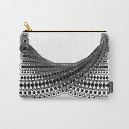 Geometric Lace in Black on White Carry-All Pouch