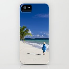 Woman in Blue on Sandy Beach iPhone Case