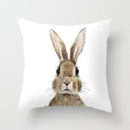 cute innocent rabbit Throw Pillow