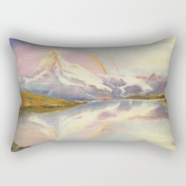 Matterhorn with Rainbow - Swiss Mountain Landscape Rectangular Pillow