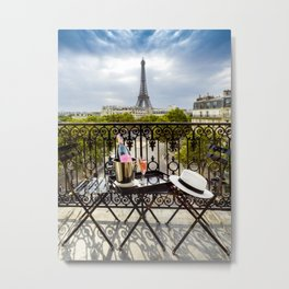 Eiffel Tower Paris Balcony View Metal Print