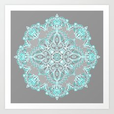 Teal and Aqua Lace Mandala on Grey Art Print