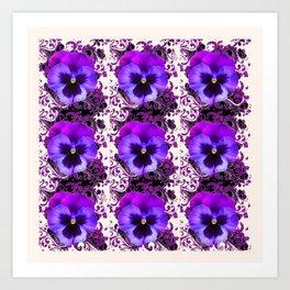 GARDEN ROWS OF PURPLE PANSY FLOWERS PATTERNS Art Print