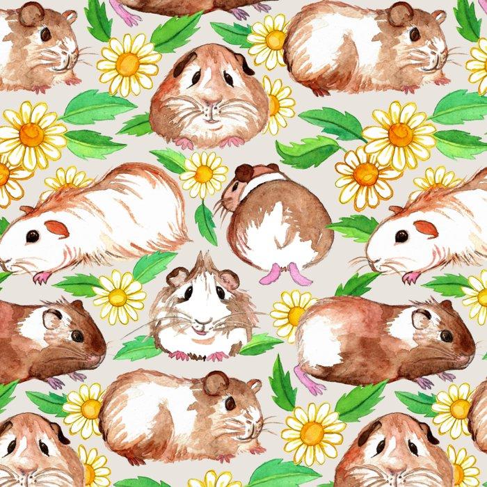 Guinea Pigs and Daisies in Watercolor Leggings