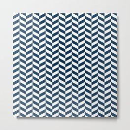 Prussian Blue Herringbone Pattern Metal Print