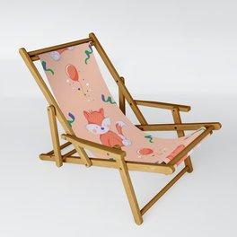 Happy Birthday Orange Fox on Orange Background Pattern Sling Chair