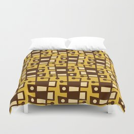 Mid Century Modern Abstract 212 Yellow and Brown Duvet Cover