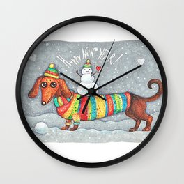 Dachshund in a suit with a snowman - New Year Wall Clock